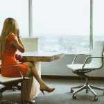 business woman office chair