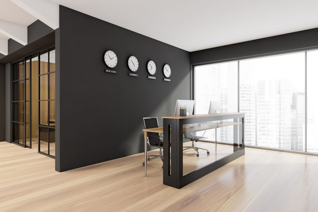 Panoramic reception with glass frontal part of desk, wooden floor, black wall with clock, showing world time, and office room with sliding door. A concept of modern interior design. 3d rendering
