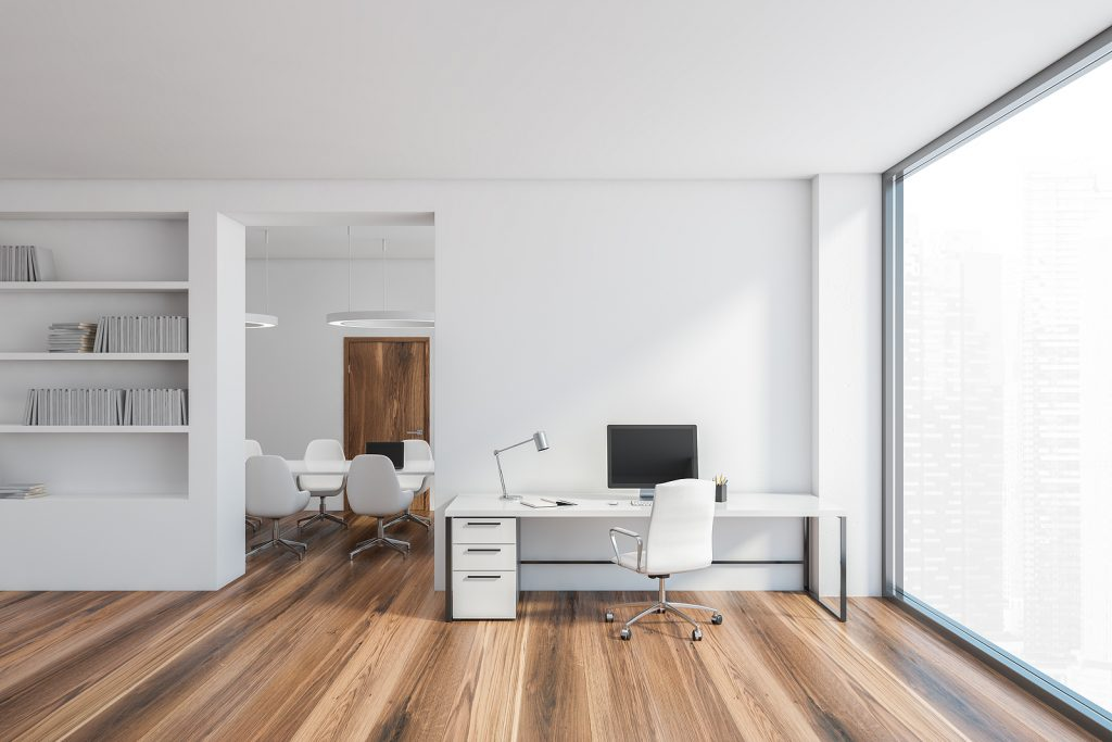 White office room, secretary and meeting room with a bright large window, 3D rendering. Minimalist stylish interior of office with chairs and computer on the table, no people